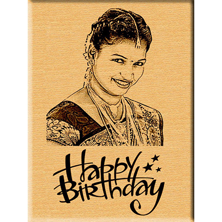 Birthday Gift - Engraved Wooden Photo Plaque