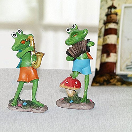 Home Decor Musical Frog Set of 2 Accordian and Sexophone