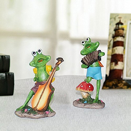 Home Decor Musical Frog Set of 2 Bass and Accodian (12.5x6.5cm)
