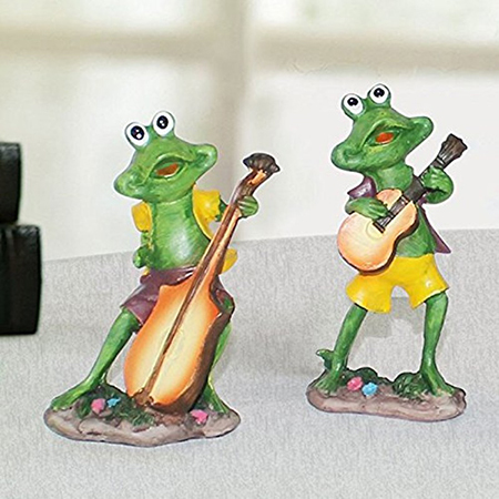 Home Decor Musical Frog Set of 2 Bass and Guitar (12.5x6.5cm)