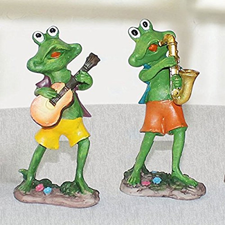 Home Decor Musical Frog Set of 2 Guitar and Sexophone (12.5x6.5cm)
