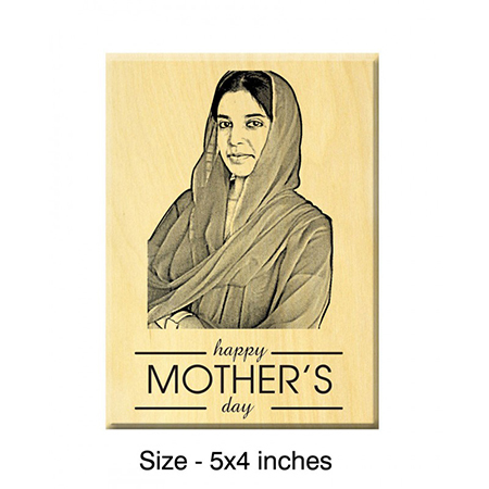 Mother's Day Present ideas Engraved Photo on Maple Wood (Various Sizes)