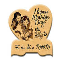 Mother Day Unique Gift Heart Shaped Engraved Wooden Photo