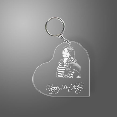 Heart Shaped Transparent Engraved Acrylic Photo Keyring