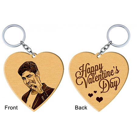 Heart Shaped Wooden Engraved Photo Keyring