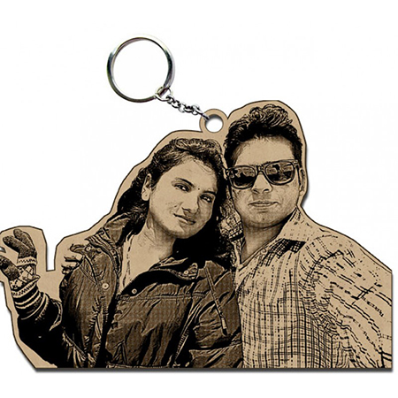 Wooden Personalized Photo keyring