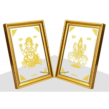 24 carat gold plated Laxmi Maa and Ganesh Photo Frame (6x8) for Diwali Gifts, Corporate Gifts