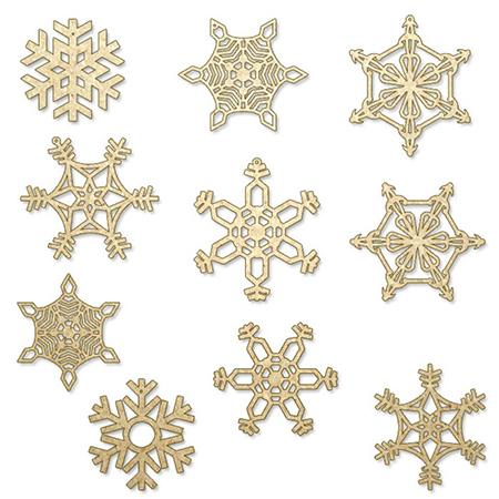Christmas Snowflakes Wooden DIY (Set of 10)