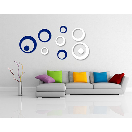3D Wall Decoration Stickers For Modern Wall Art (Blue And White - 10 Pcs)