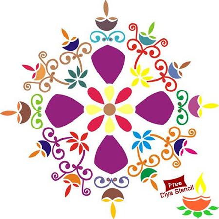 DIY Diya Rangoli Stencil for Diwali - Wooden (15  x 15)