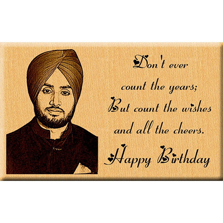 Birthday Gift - Engraved Wooden Photo Plaque for Him