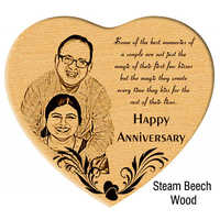 Unique Anniversary Gift- Engraved Photo in Wooden Heart