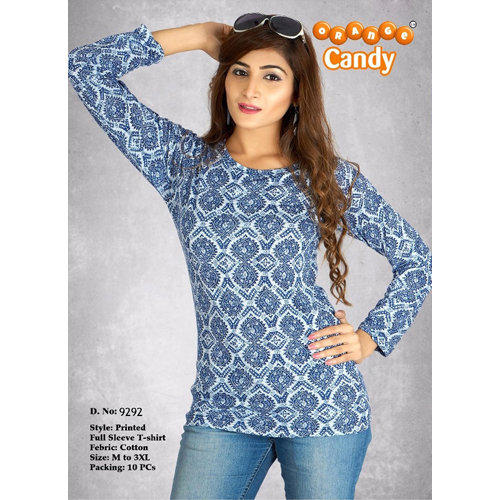 Ladies Printed Full Sleeve T Shirt