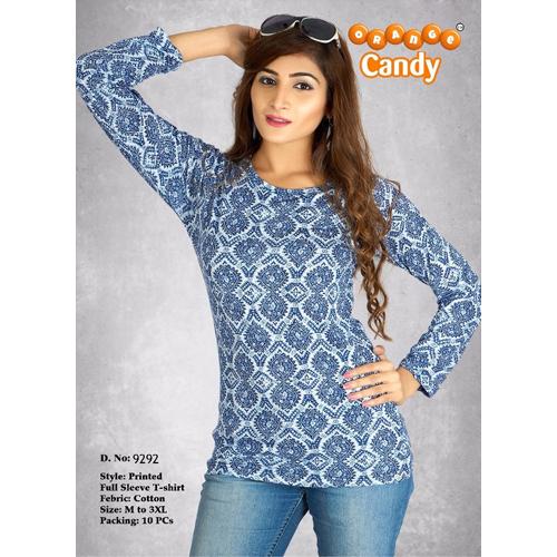 Ladies Printed Full Sleeve T Shirt