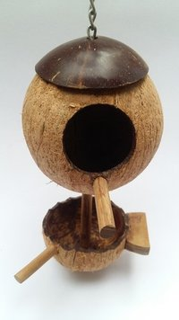 Coconut Shell Pet / Bird House With Feeder