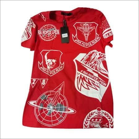 Red Color Printed T-Shirt