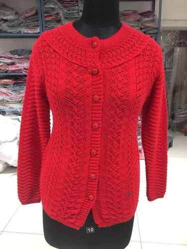 Red Woolen Cardigan