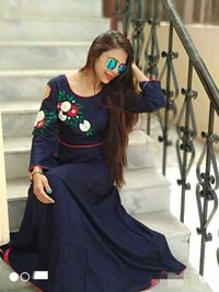 Stylish rayon gown with pearl and wool embroidary