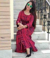 Rayon printed long dress