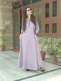 Stylish  cotton check dress