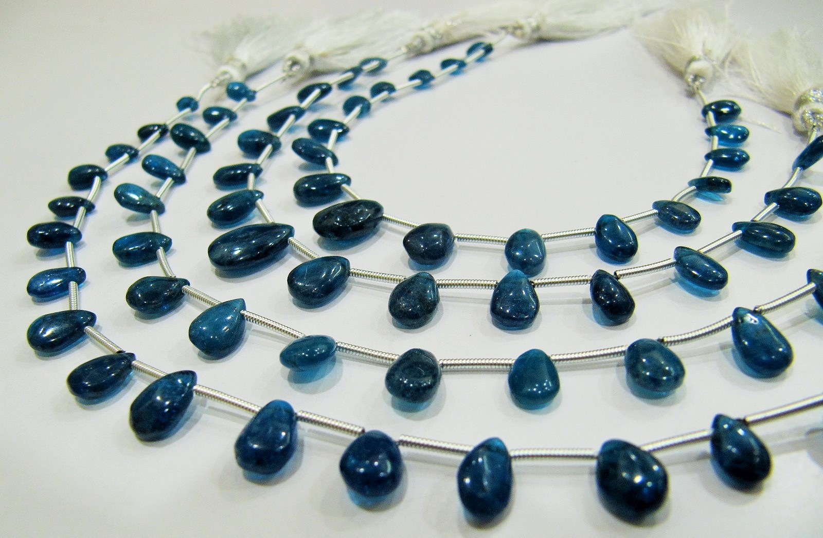 AAA Quality Natural Neon Apatite Pear Shape Beads.