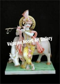 Cow Krishna Statue With Flute