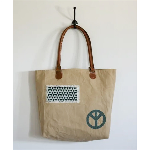 Vintage Tote Bag With Peace Patch
