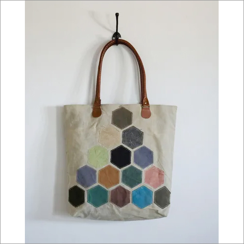 Vintage Printed Patching Tote Bag