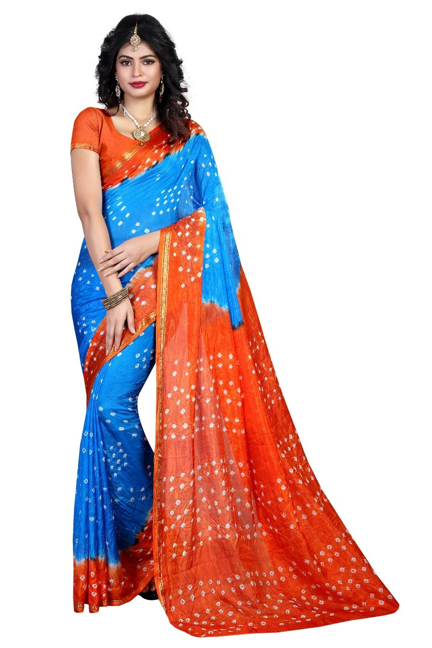 Golden Border Bandhani Chiffon Saree