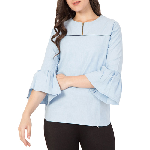 Ladies Light Blue Cotton Top