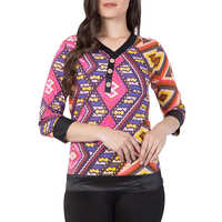 Ladies Pink Printed Crepe Top