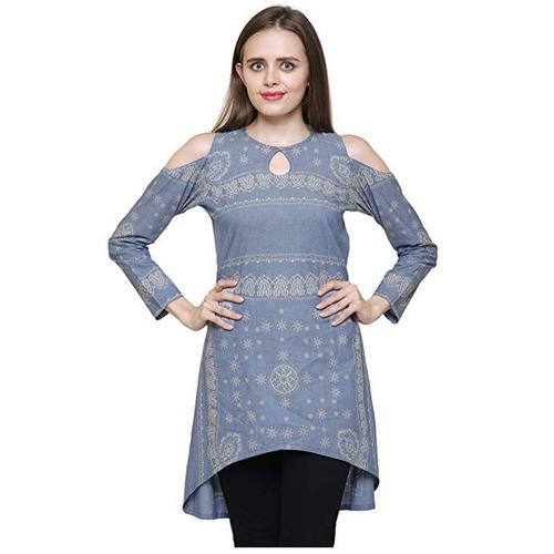 8fac8624d620f Ladies Silk Blue Cold Shoulder Top Manufacturer   Supplier in Delhi ...