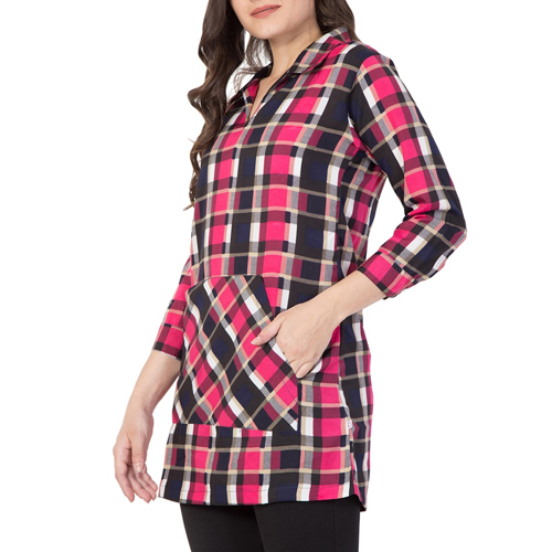 Ladies Pink Checkered Crepe Tunic