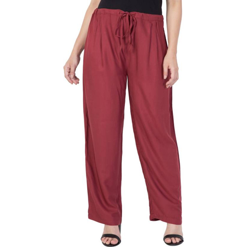 Regular Fit Ladies Maroon Trousers