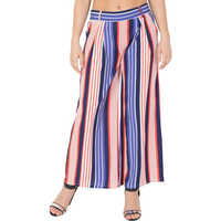 Mythya Flared Ladies Striped Multicolor Trousers
