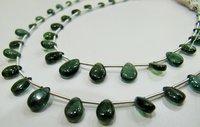 AAA质量深绿磷灰石宝石梨形状小珠