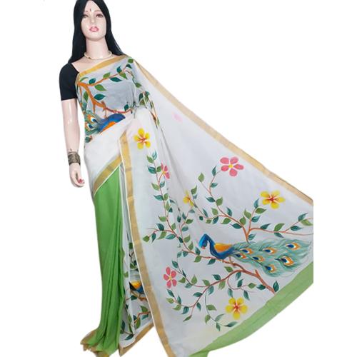 Ladies Green Chapa Saree