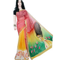 Ladies Red Yellow Chapa Saree