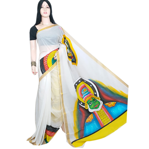 Ladies White Chapa Saree