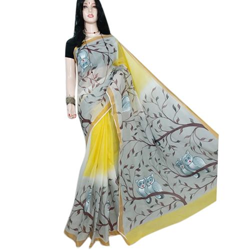 Ladies Yellow Chapa Saree