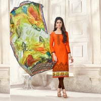 Embroidery Salwar Suit With Printed Dupatta