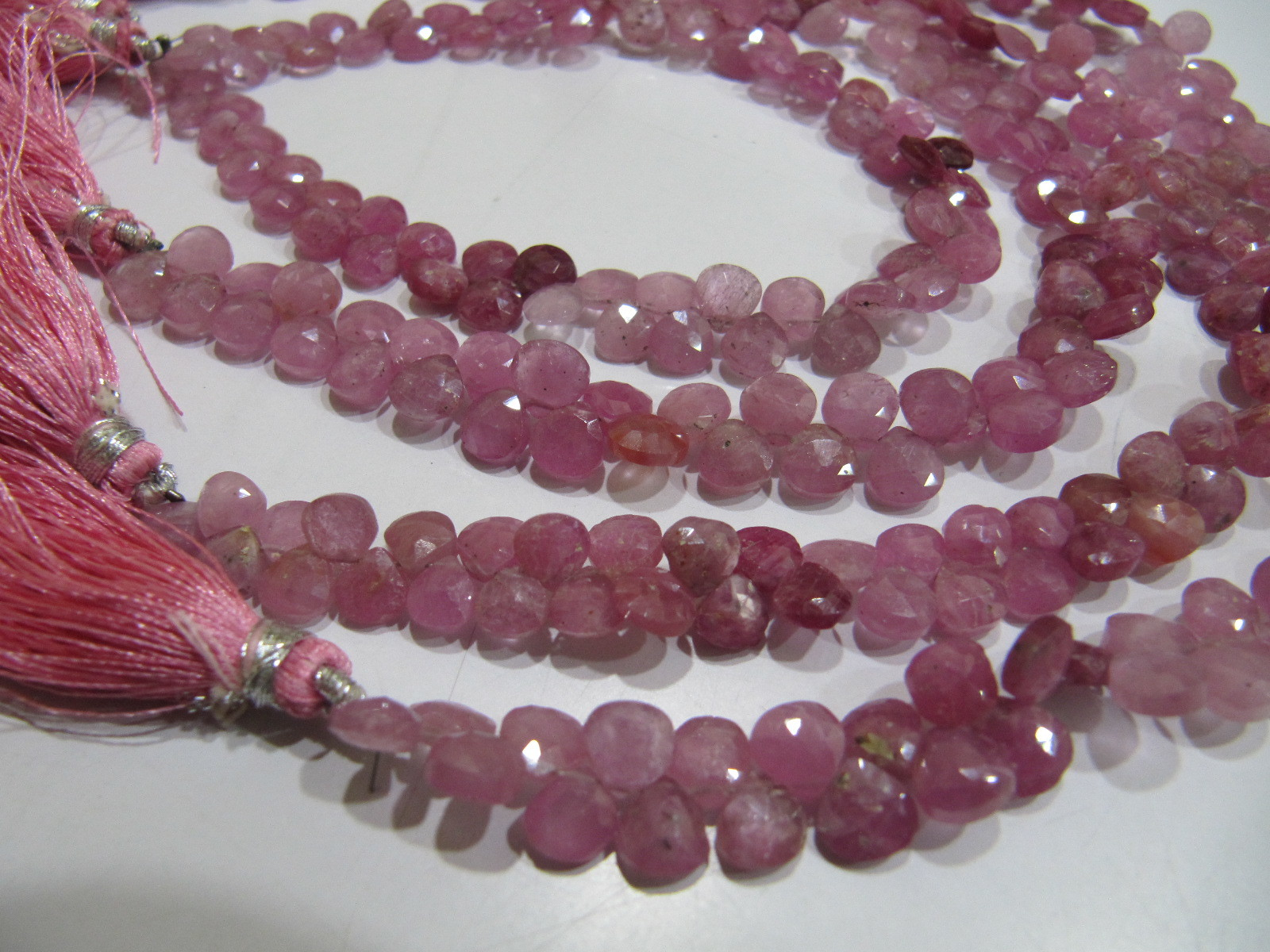 Very Good Quality Natural Pink Ruby Heart Shape Faceted Beads .