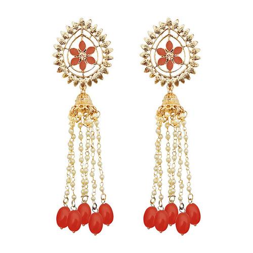 Orange Dangler Earrings