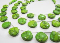 AAA Quality Green Turquoise Smooth Plain Heart Shape Beads.