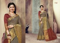 New Designer Cotton Weaving Saree With Blouse Pieces