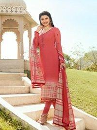Prachi Desai Peach Color Royal Crape Straight Suit
