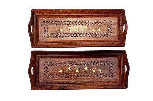 Wooden Premium Quality Serving Tray With Hand Carved Design 11 Inch