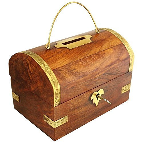 Handicrafted Wooden Money Bank Big Piggy Coin Box Gifts