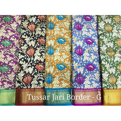 Tussar Jari Sarees With Border
