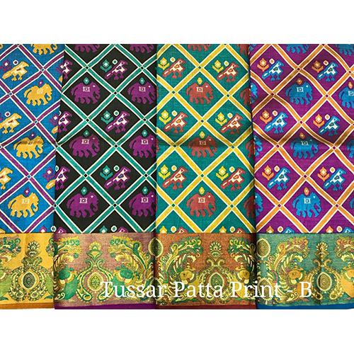 Tussar Patta Designer Print Sarees